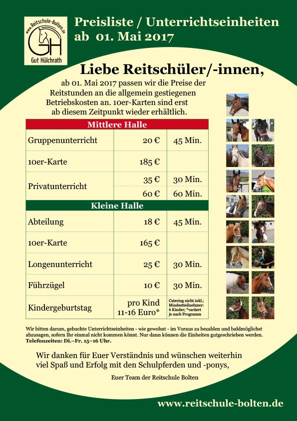 Reitschule Bolten Schulbetrieb 2017 Preise